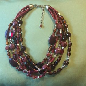 Red multilayered Lia Sophia necklace